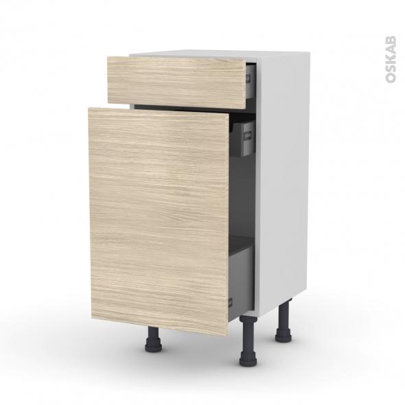 Meuble de cuisine - Range épice - STILO Noyer Blanchi - 3 tiroirs - L40 x H70 x P37 cm