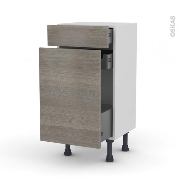 Meuble de cuisine - Range épice - STILO Noyer Naturel - 3 tiroirs - L40 x H70 x P37 cm
