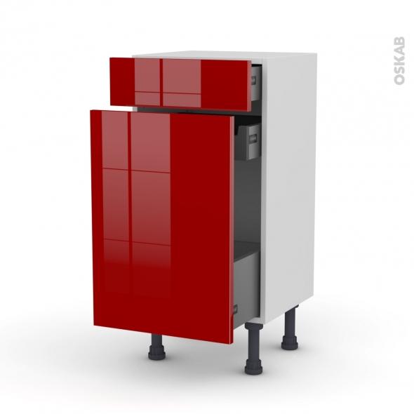 Meuble de cuisine - Range épice - STECIA Rouge - 3 tiroirs - L40 x H70 x P37 cm