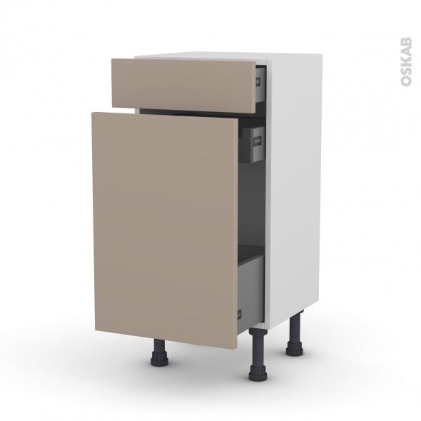 Meuble de cuisine - Range épice - GINKO Taupe - 3 tiroirs - L40 x H70 x P37 cm