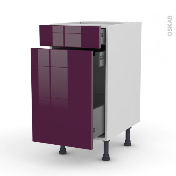 Meuble de cuisine - Range épice - KERIA Aubergine - 3 tiroirs - L40 x H70 x P58 cm