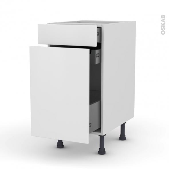 Meuble de cuisine - Range épice - GINKO Blanc - 3 tiroirs - L40 x H70 x P58 cm