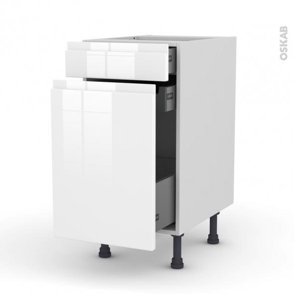 Meuble de cuisine - Range épice - IPOMA Blanc brillant - 3 tiroirs - L40 x H70 x P58 cm