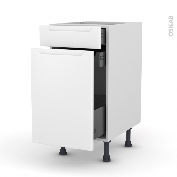 Meuble de cuisine - Range épice - PIMA Blanc - 3 tiroirs - L40 x H70 x P58 cm