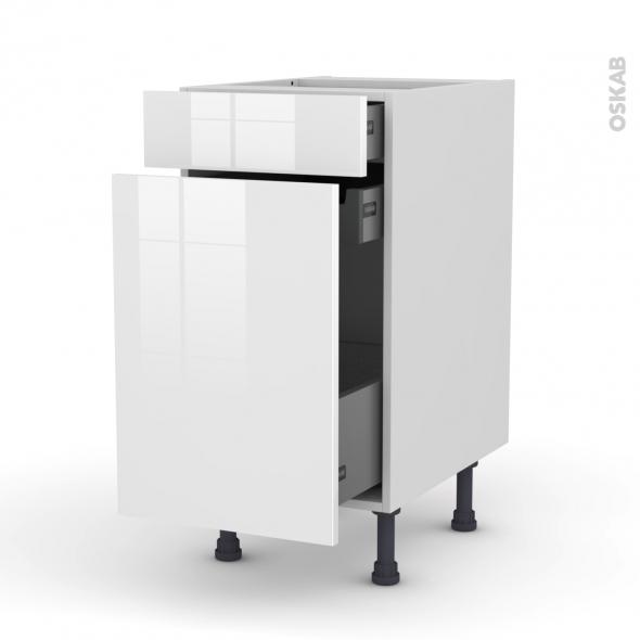 Meuble de cuisine - Range épice - STECIA Blanc - 3 tiroirs - L40 x H70 x P58 cm