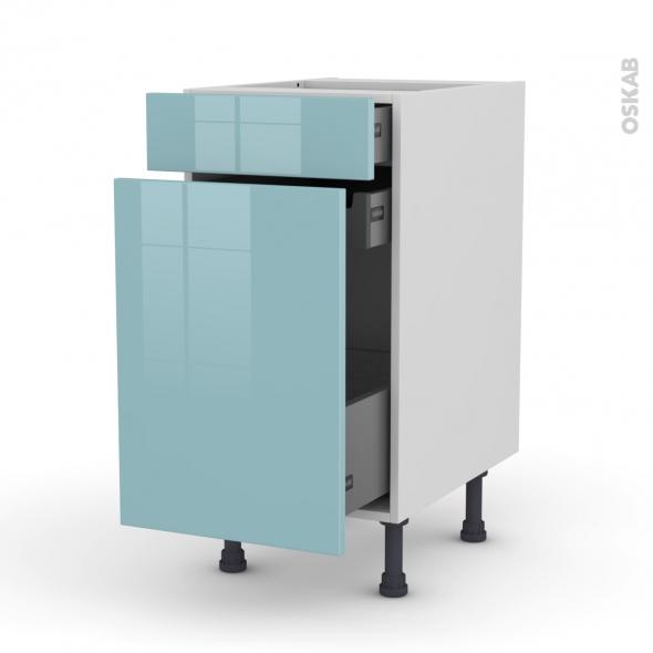 Meuble de cuisine - Range épice - KERIA Bleu - 3 tiroirs - L40 x H70 x P58 cm