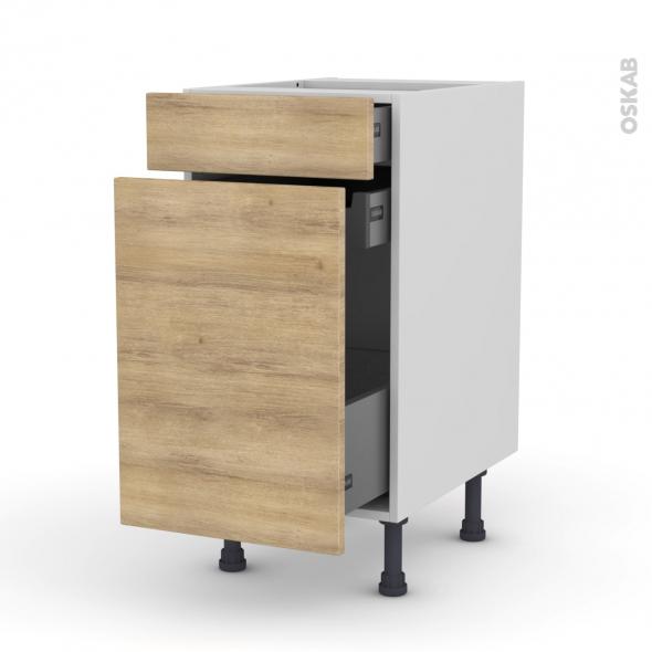 Meuble de cuisine - Range épice - HOSTA Chêne naturel - 3 tiroirs - L40 x H70 x P58 cm