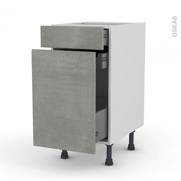 Meuble de cuisine - Range épice - FAKTO Béton - 3 tiroirs - L40 x H70 x P58 cm