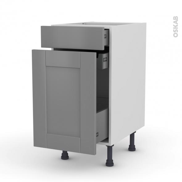 Meuble de cuisine - Range épice - FILIPEN Gris - 3 tiroirs - L40 x H70 x P58 cm