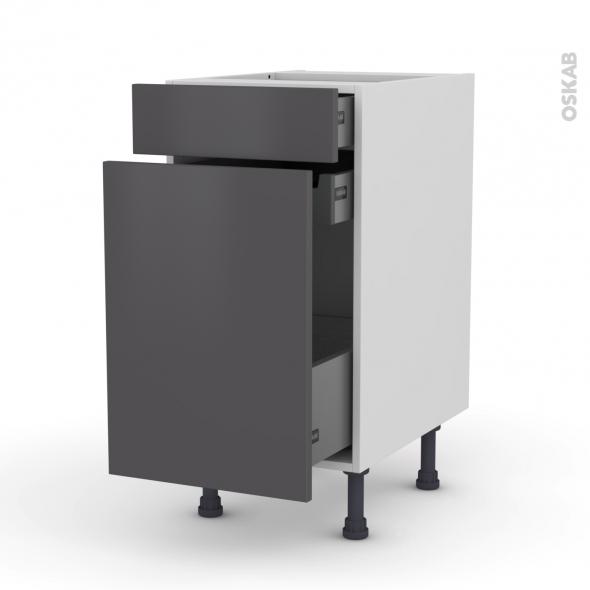Meuble de cuisine - Range épice - GINKO Gris - 3 tiroirs - L40 x H70 x P58 cm