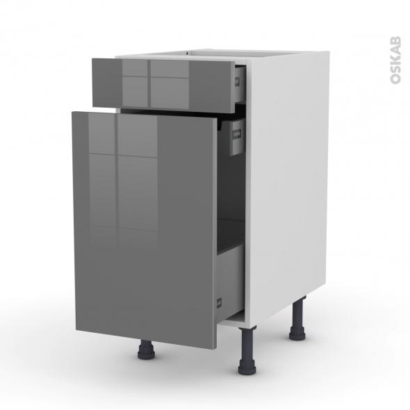 Meuble de cuisine - Range épice - STECIA Gris - 3 tiroirs - L40 x H70 x P58 cm