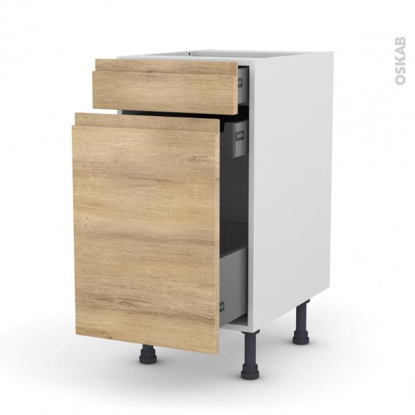 Meuble de cuisine - Range épice - IPOMA Chêne naturel - 3 tiroirs - L40 x H70 x P58 cm