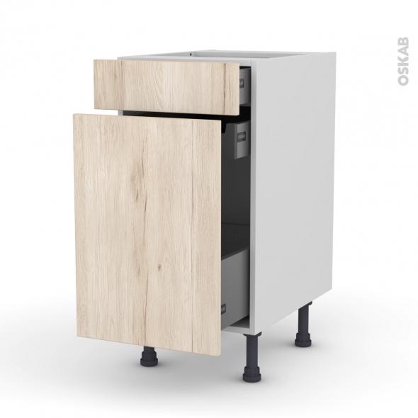 Meuble de cuisine - Range épice - IKORO Chêne clair - 3 tiroirs - L40 x H70 x P58 cm