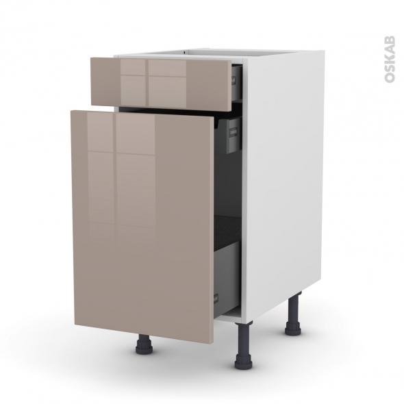 Meuble de cuisine - Range épice - KERIA Moka - 3 tiroirs - L40 x H70 x P58 cm