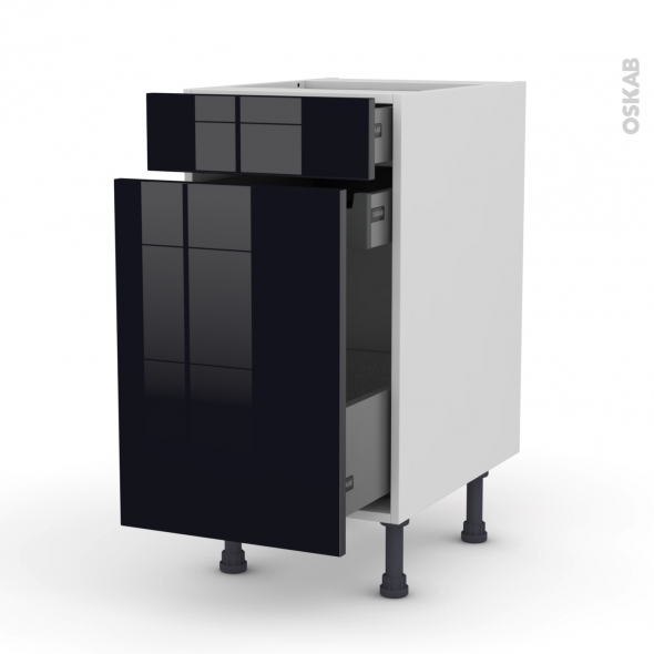 Meuble de cuisine - Range épice - KERIA Noir - 3 tiroirs - L40 x H70 x P58 cm
