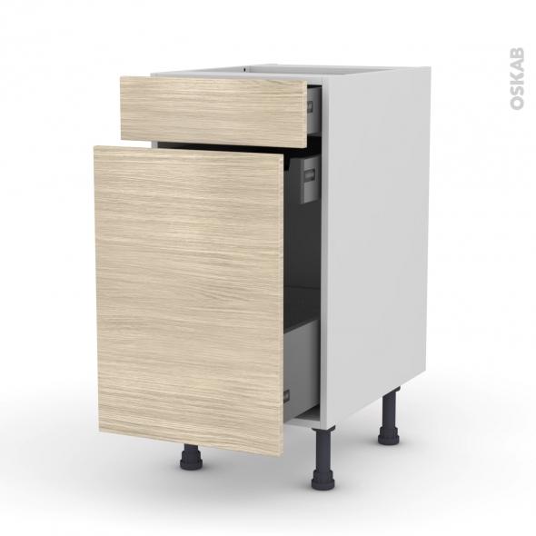 Meuble de cuisine - Range épice - STILO Noyer Blanchi - 3 tiroirs - L40 x H70 x P58 cm