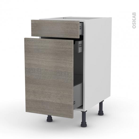 Meuble de cuisine - Range épice - STILO Noyer Naturel - 3 tiroirs - L40 x H70 x P58 cm