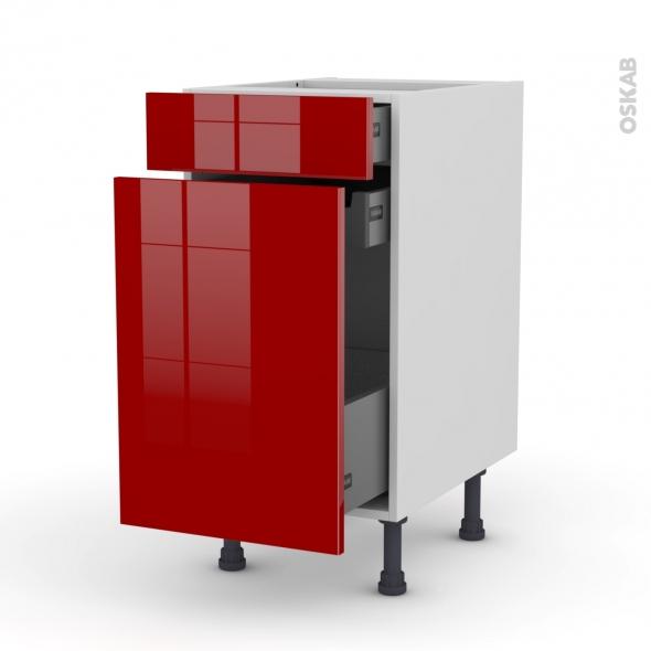 Meuble de cuisine - Range épice - STECIA Rouge - 3 tiroirs - L40 x H70 x P58 cm