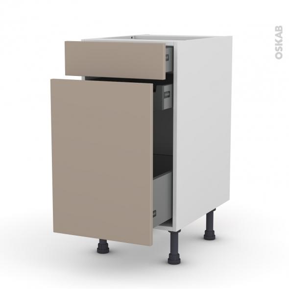 Meuble de cuisine - Range épice - GINKO Taupe - 3 tiroirs - L40 x H70 x P58 cm
