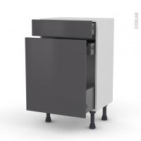 Meuble de cuisine - Range épice - GINKO Gris - 3 tiroirs - L50 x H70 x P37 cm