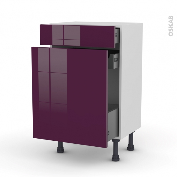 KERIA Aubergine - Meuble range épice - 3 tiroirs - L50xH70xP37