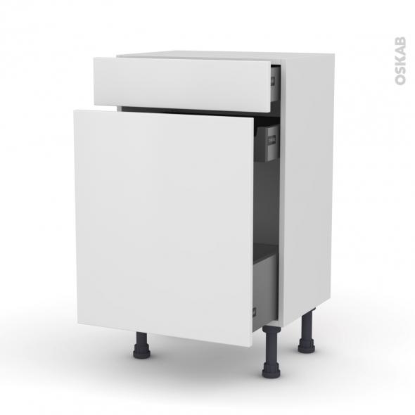 GINKO Blanc - Meuble range épice - 3 tiroirs - L50xH70xP37