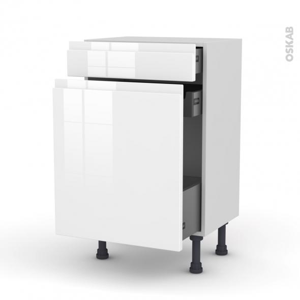 IPOMA Blanc - Meuble range épice - 3 tiroirs - L50xH70xP37