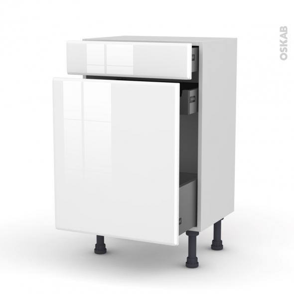 Meuble de cuisine - Range épice - IRIS Blanc - 3 tiroirs - L50 x H70 x P37 cm