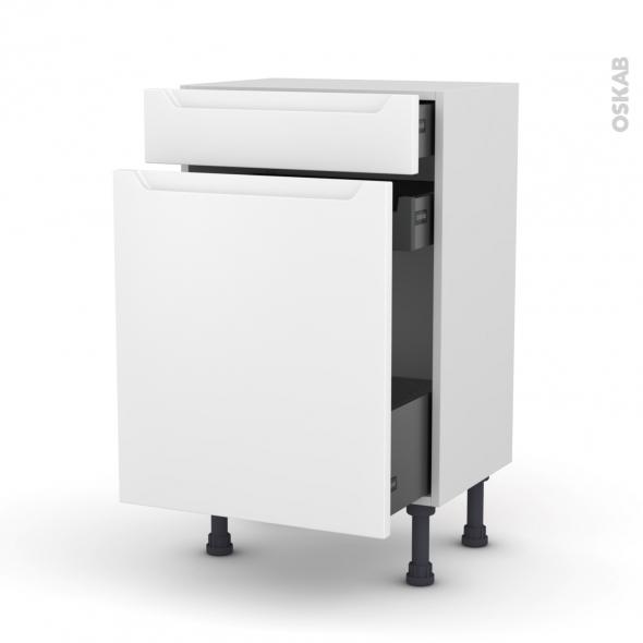 Meuble de cuisine - Range épice - PIMA Blanc - 3 tiroirs - L50 x H70 x P37 cm