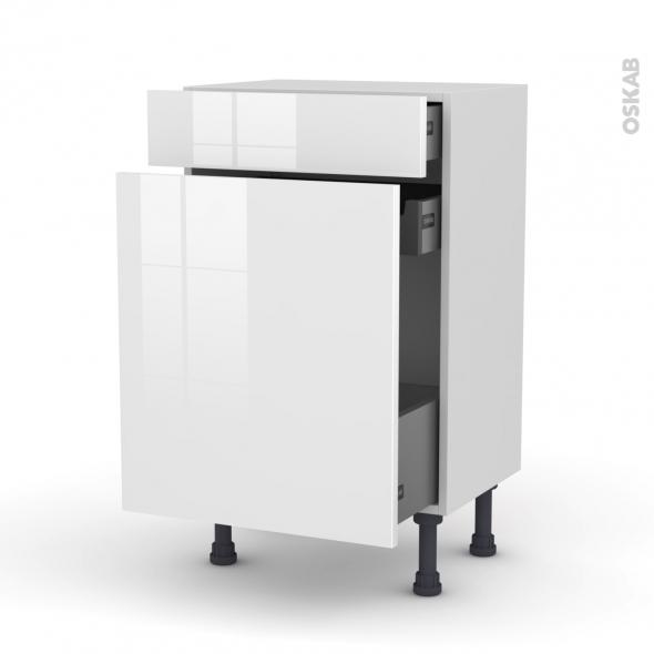 Meuble de cuisine - Range épice - STECIA Blanc - 3 tiroirs - L50 x H70 x P37 cm
