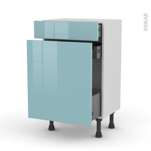 Meuble de cuisine - Range épice - KERIA Bleu - 3 tiroirs - L50 x H70 x P37 cm