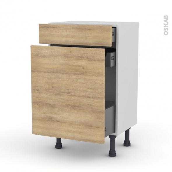 Meuble de cuisine - Range épice - HOSTA Chêne naturel - 3 tiroirs - L50 x H70 x P37 cm