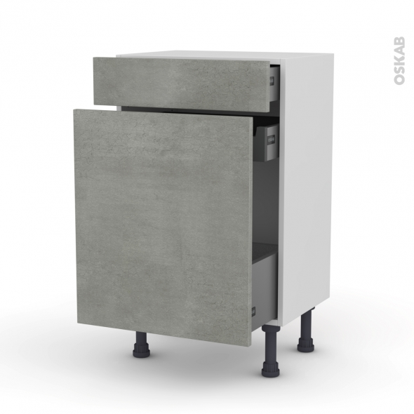 Meuble de cuisine - Range épice - FAKTO Béton - 3 tiroirs - L50 x H70 x P37 cm