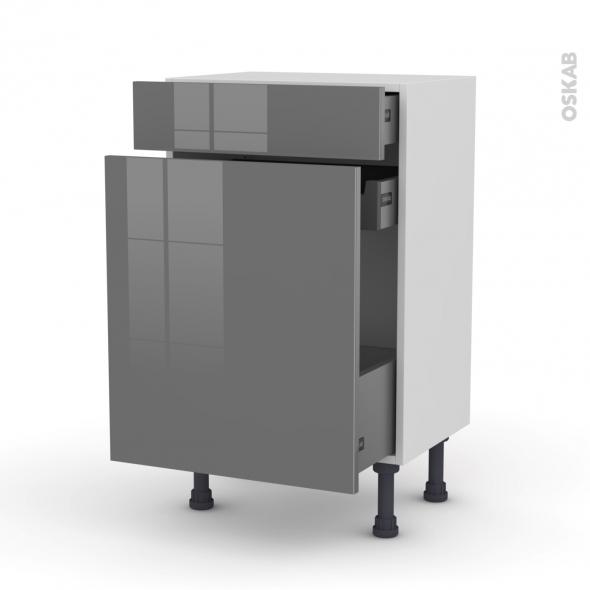 Meuble de cuisine - Range épice - STECIA Gris - 3 tiroirs - L50 x H70 x P37 cm