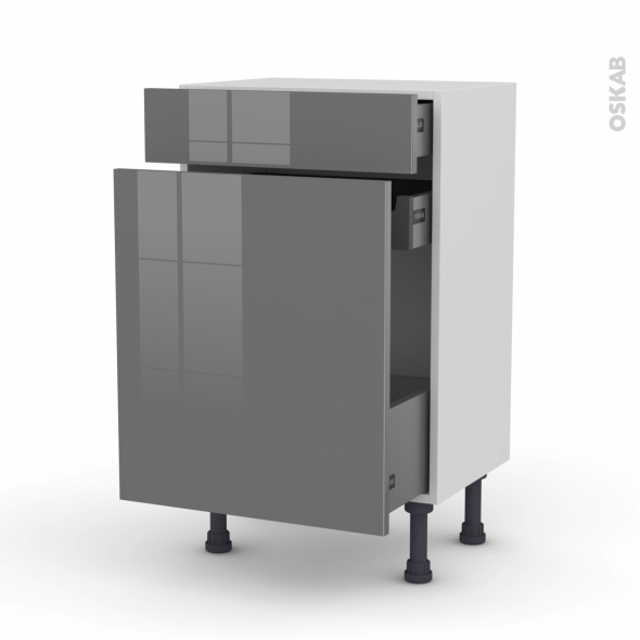 STECIA Gris - Meuble range épice - 3 tiroirs - L50xH70xP37