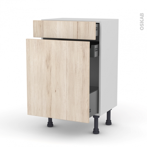 Meuble de cuisine - Range épice - IKORO Chêne clair - 3 tiroirs - L50 x H70 x P37 cm