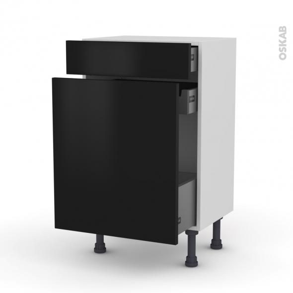 Meuble de cuisine - Range épice - GINKO Noir - 3 tiroirs - L50 x H70 x P37 cm