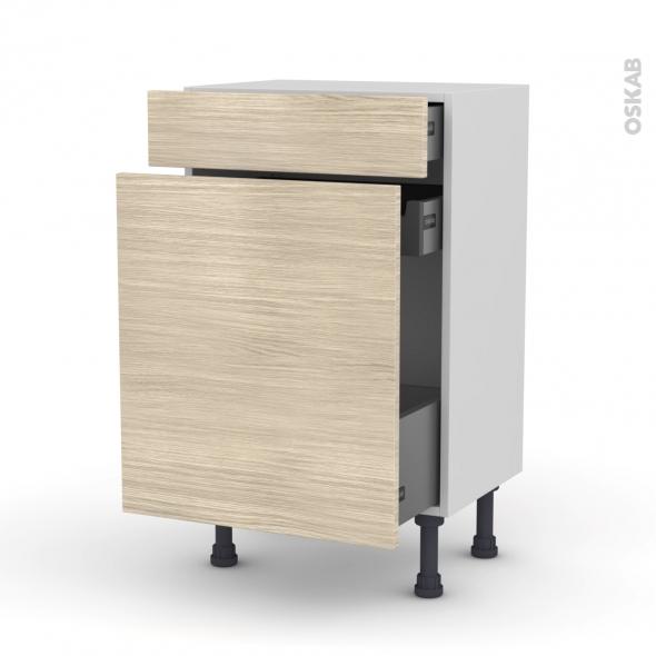 Meuble de cuisine - Range épice - STILO Noyer Blanchi - 3 tiroirs - L50 x H70 x P37 cm