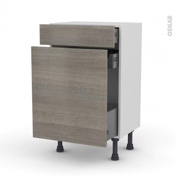 Meuble de cuisine - Range épice - STILO Noyer Naturel - 3 tiroirs - L50 x H70 x P37 cm