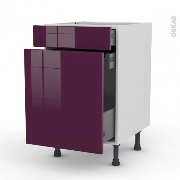 Meuble de cuisine - Range épice - KERIA Aubergine - 3 tiroirs - L50 x H70 x P58 cm
