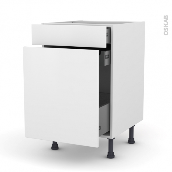 GINKO Blanc - Meuble range épice - 3 tiroirs - L50xH70xP58