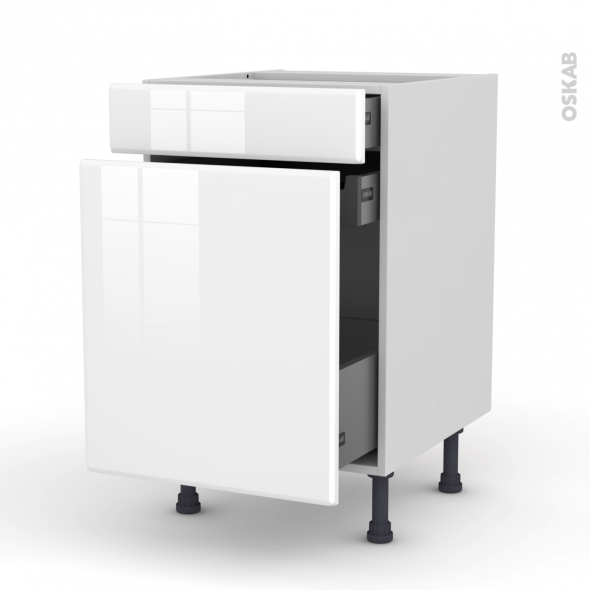 Meuble de cuisine - Range épice - IRIS Blanc - 3 tiroirs - L50 x H70 x P58 cm