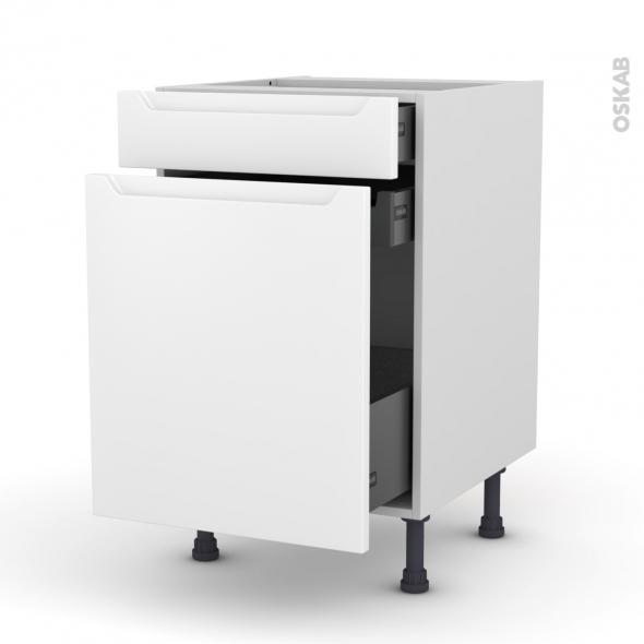 Meuble de cuisine - Range épice - PIMA Blanc - 3 tiroirs - L50 x H70 x P58 cm