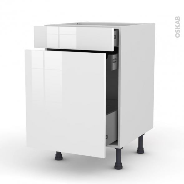 Meuble de cuisine - Range épice - STECIA Blanc - 3 tiroirs - L50 x H70 x P58 cm