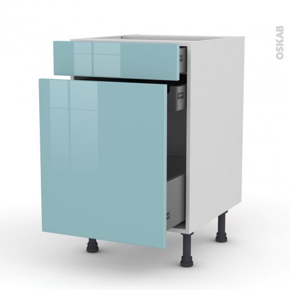 Meuble de cuisine - Range épice - KERIA Bleu - 3 tiroirs - L50 x H70 x P58 cm