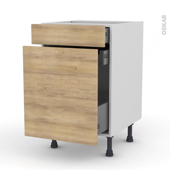 Meuble de cuisine - Range épice - HOSTA Chêne naturel - 3 tiroirs - L50 x H70 x P58 cm