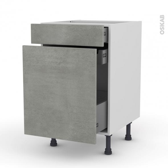 Meuble de cuisine - Range épice - FAKTO Béton - 3 tiroirs - L50 x H70 x P58 cm