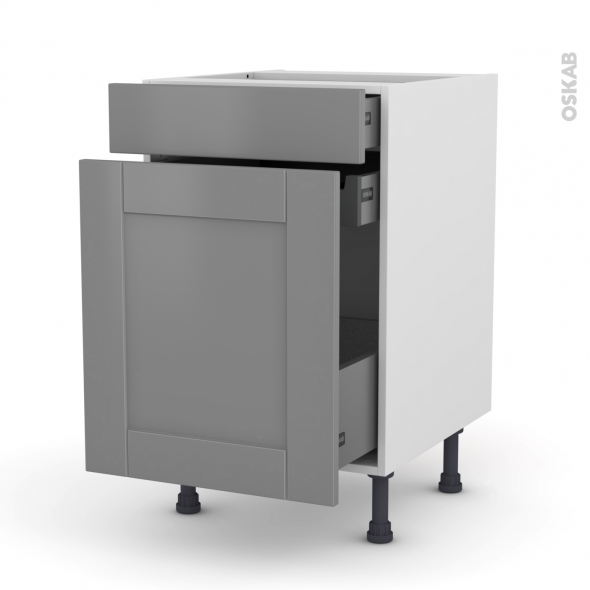 Meuble de cuisine - Range épice - FILIPEN Gris - 3 tiroirs - L50 x H70 x P58 cm