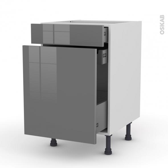 Meuble de cuisine - Range épice - STECIA Gris - 3 tiroirs - L50 x H70 x P58 cm