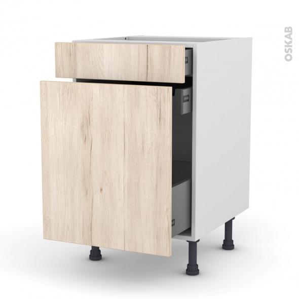 Meuble de cuisine - Range épice - IKORO Chêne clair - 3 tiroirs - L50 x H70 x P58 cm